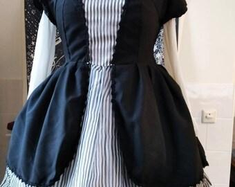 Black pinstripe gothic Lolita one piece