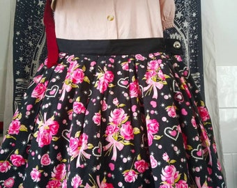 Pink rose retro casual Lolita skirt