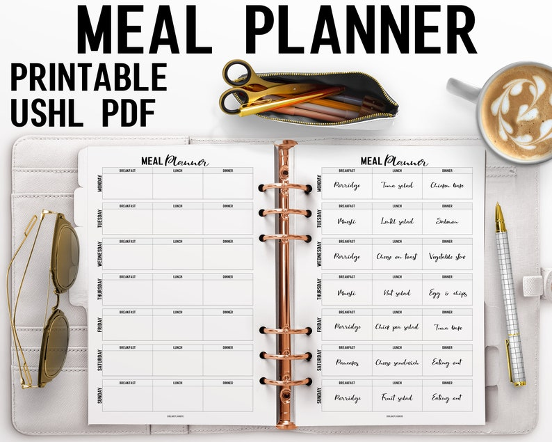 Weekly Meal Planner US Half Letter Insert image 0