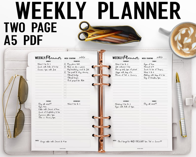 Two Page Weekly Planner Printable A5 Insert image 0