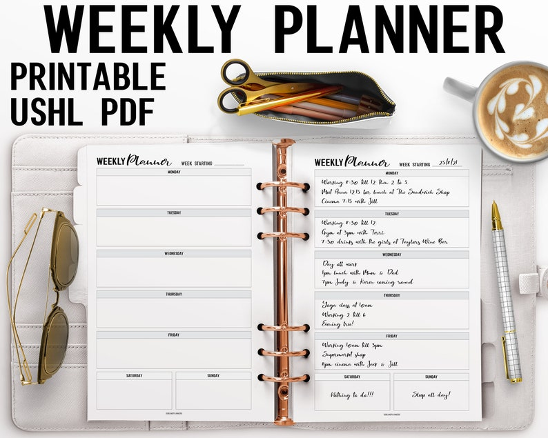 Week On A Page Planner Printable US Half Letter Insert image 0