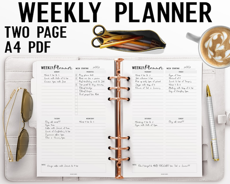 Two Page Weekly Planner Printable A4 Insert image 0