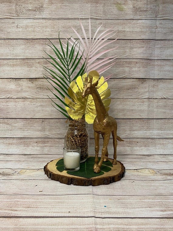 Gold Safari Jungle Centerpiece Set Glam Babyshower Tree Bark Etsy