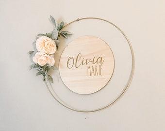 nursery decor floral wedding hoop Personalised floral name wooden hanging hoop