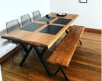 Solid Wood Dining Table - Asya / Natural Wooden Table / Metal Leg Kitchen Table / Rustic Table / Farmhouse Table / Home Office Table
