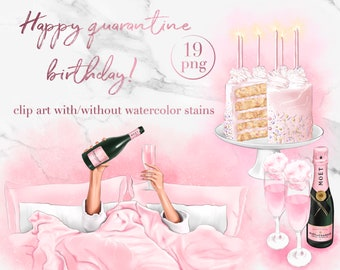 Birthday in quarantine clip art - Stay at home party fashion illustration -  cake, champagne, balloons printable stickers - pink watercolor