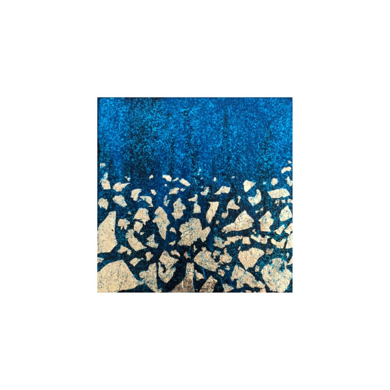 Blue and gold abstract small painting image 0