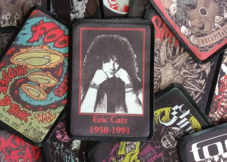 Eric Carr kiss sew on patch band rock metal merch jacket accessories vintage design