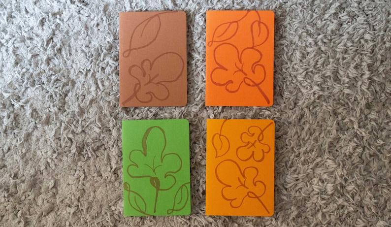 A6 Notecards Oak Leaf Colourful Autumn Cards Line Illustration