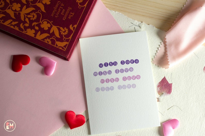 With Love Type Card Family Friends Greetings Card Purple Ombre Typewriter Style