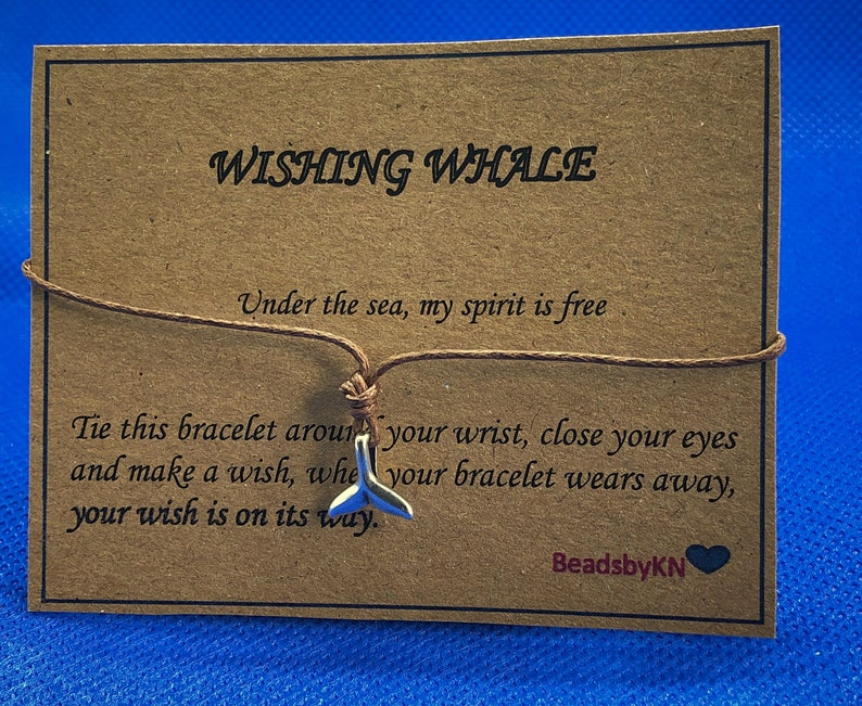 Whale Tail Wish Bracelet  Tie Bracelet Whale Tale Charm  Whale Jewellery  Marine life Sea Lovers  Mermaid Wish band  Ocean Jewellery