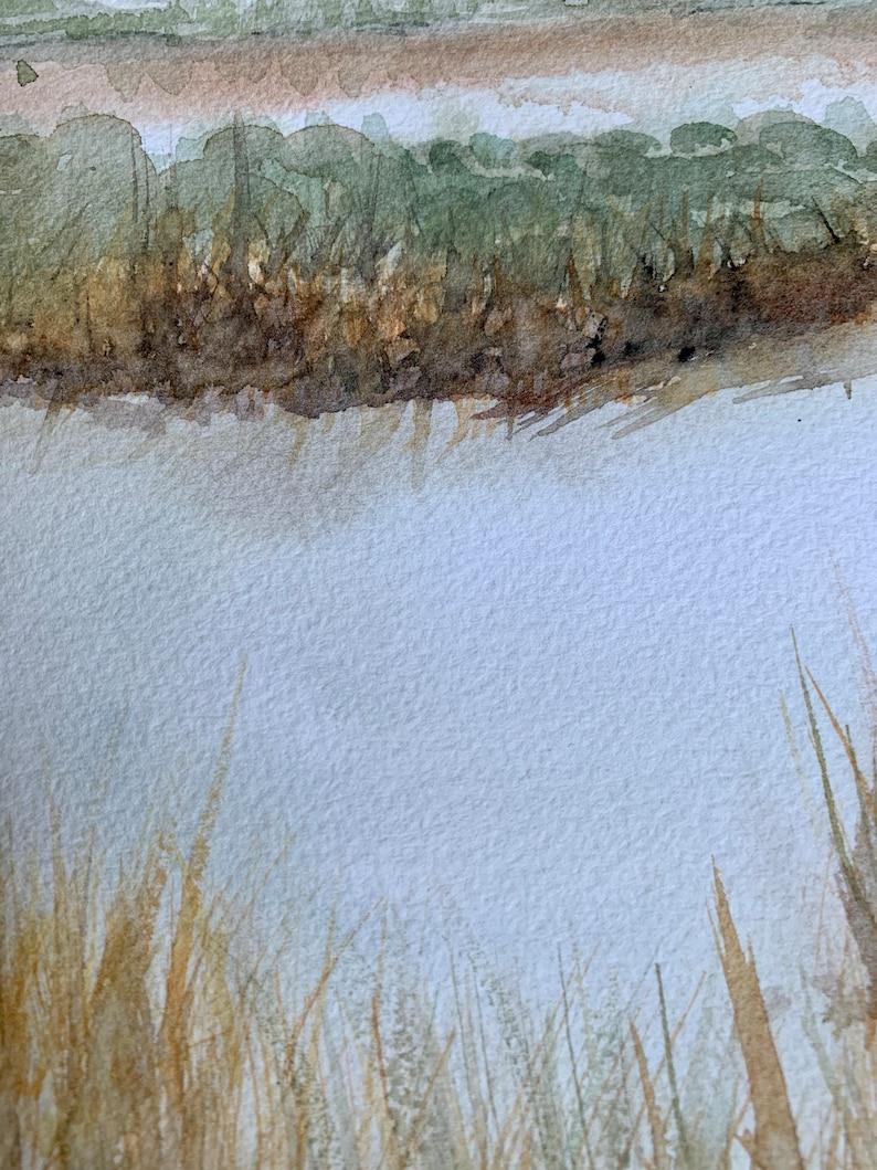 ORIGINAL WATERCOLOR Costal wetlands folly beach 9x12 140lb Arches paper
