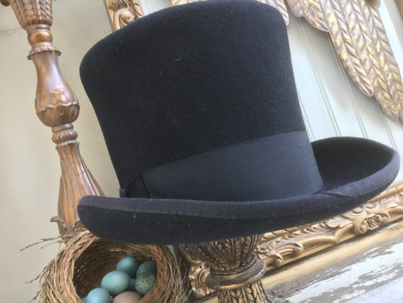 Vintage New York Style Top Hat - 1930s, Black Felt