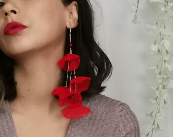 Red Flower Earrings Gift for Her Statement Jewelry Red Chiffon Earrings Statement Earrings