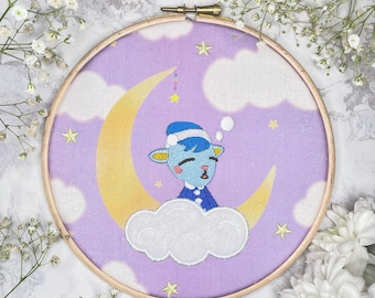 Sherb Dreaming Animal Crossing - Fan Art - Embroidered Frame Wall Display / Hanging