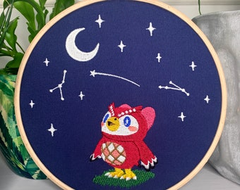 Celeste - GLOW in the dark - Animal Crossing - Fan Art - Embroidered Frame Wall Display / Hanging