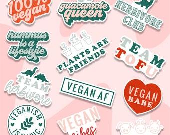 Vegan sticker pack, Herbivore Club - Dino Vegetarian Vegan Pride, animals lover sticker, laptop sticker pack, plant based stickers, decals