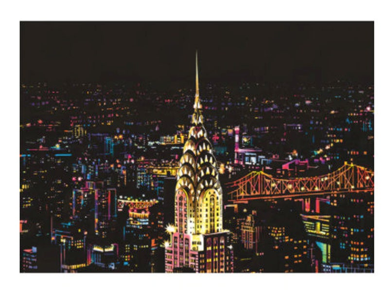 home school or craft events Scratch Drawing Great for school projects Scratch Art Chrysler Building NYC  Scratch Painting DIY from home