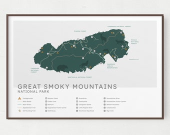 Smoky Mountains National Park Map Cuff Bracelet Unique Hiking Gift for Men or Women