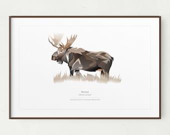 Moose Wall Art Print, Minimalist Moose Print, Printable Art, Printable Moose, Instant Download, Yellowstone, Moose Gift, Rocky Mtn Animal