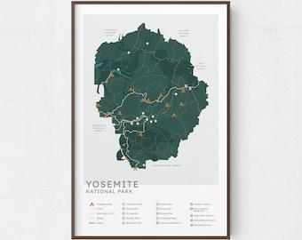 Yosemite National Park Map Print