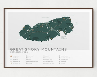 Great Smoky Mountains National Park Map Print