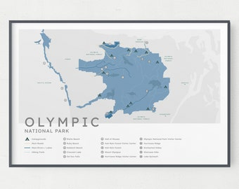 Olympic National Park Map Print