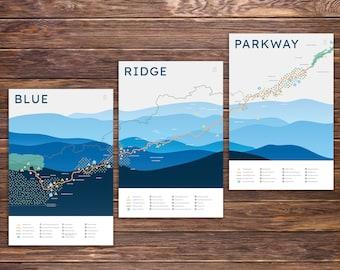 Blue Ridge Parkway Map Print Series