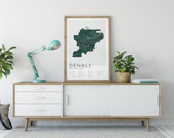 Denali National Park Map Print