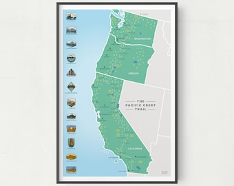 Pacific Crest Trail Map   PCT Hiking Trail Map   PCT Poster   Trail Map Art   National Park Map   PNW Art   Pacific Northwest Art