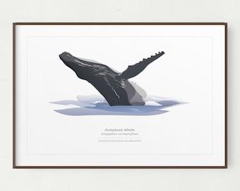 Humpback Whale Wall Art Print, Minimalist Whale Print, Printable Art, Printable Humpback Whale Art, Instant Download, Glacier Bay