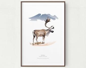 Caribou Wall Art Print, Minimalist Caribou Print, Denali National Park, Printable Art, Printable Caribou, Instant Download, Caribou Print