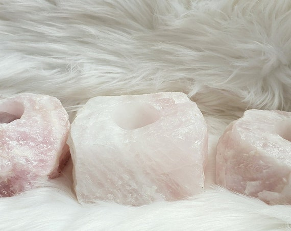 Natural Rose Quartz Candle Holder