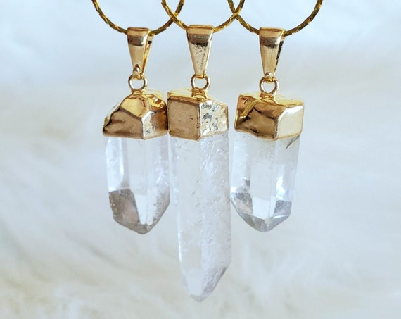 Healing Clear Quartz Necklace | Gold Accent