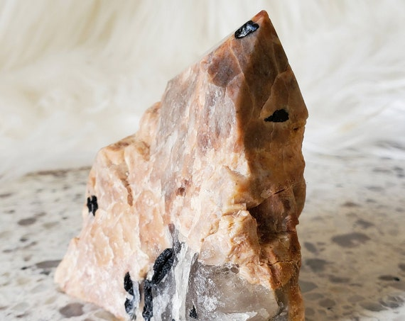 Tourmaline in Sunstone Feldspar Polished Point with Natural Sides