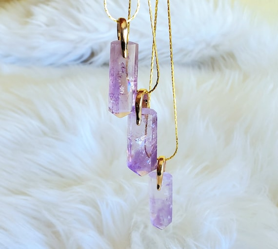 Amethyst Necklace | Full of Rainbows! | A Grade | Gold Accent