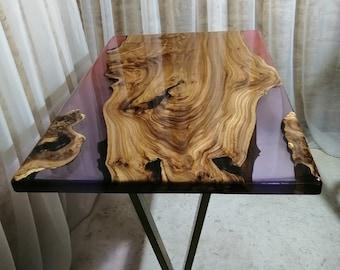 Wooden epoxy table | Etsy