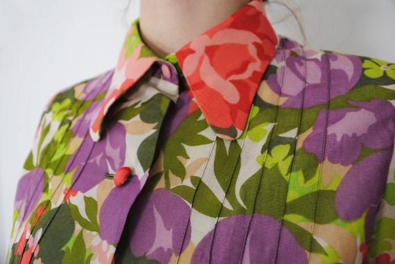 70s Botanical Long Sleeve Maxi Floral Dress, Butt… - image 9