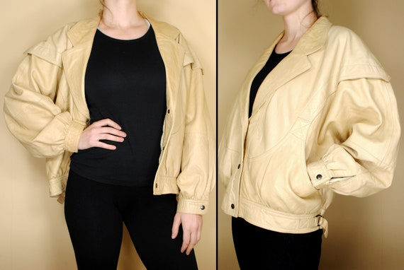 80s size M bomber jacket, beige leather jacket, be