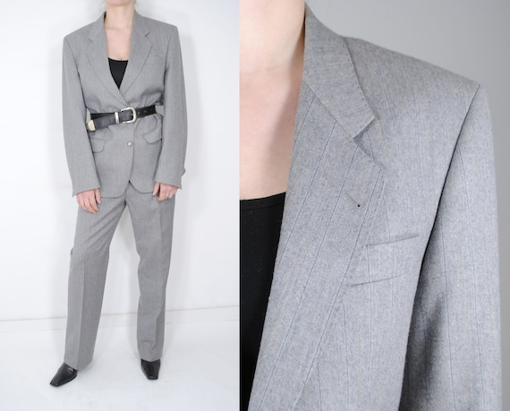 Vintage 70s Gray Wool Women Pant Suit, Wool Trouse
