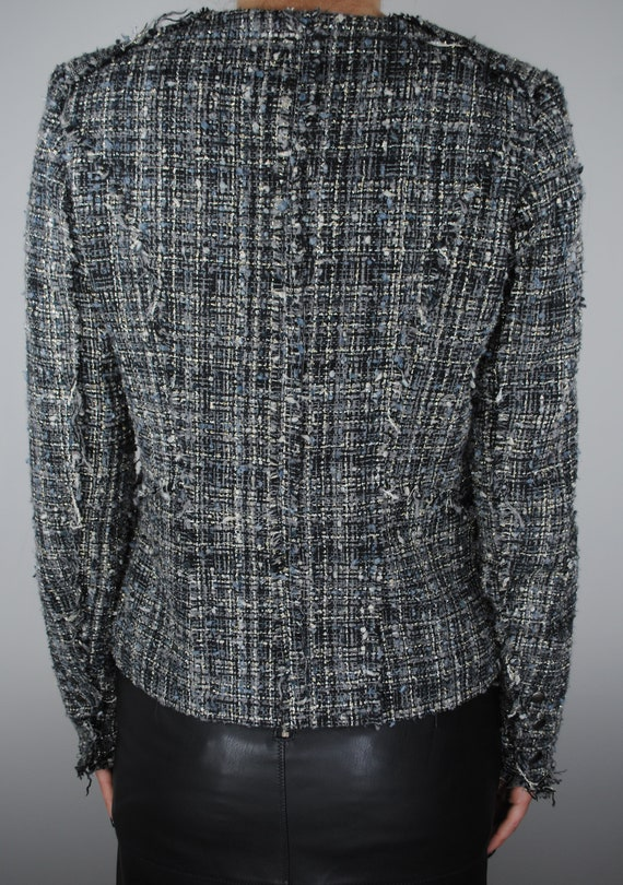 90s Chanel Inspired Gray Tweed Jacket, Vintage Co… - image 7