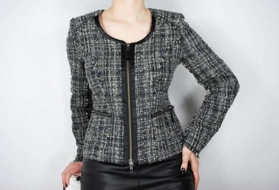 90s Chanel Inspired Gray Tweed Jacket, Vintage Co… - image 1