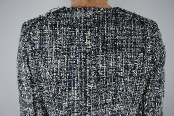 90s Chanel Inspired Gray Tweed Jacket, Vintage Co… - image 8