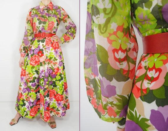 70s Botanical Long Sleeve Maxi Floral Dress, Butt… - image 1