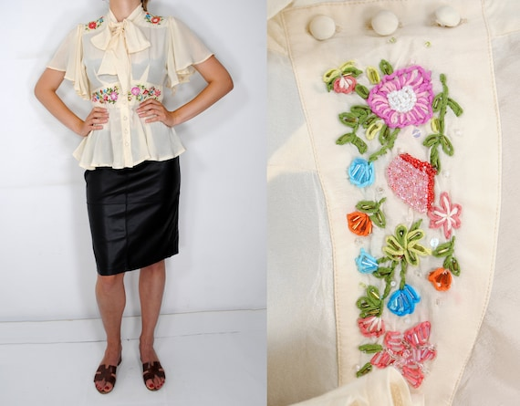 60s White Pure Silk Embroidered Blouse, Silk Bow B