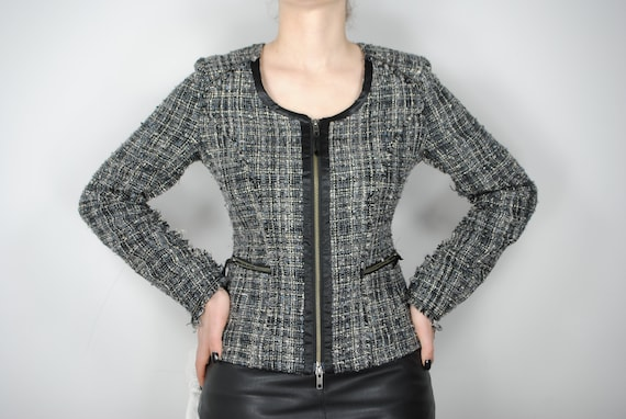 90s Chanel Inspired Gray Tweed Jacket, Vintage Co… - image 2