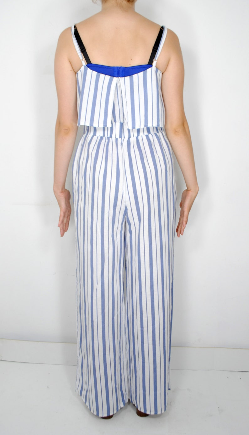 Loose romper cotton jumpsuit 70s white blue striped overall sleeveless jumpsuit jumpsuit with pockets fitted waist jumpsuit