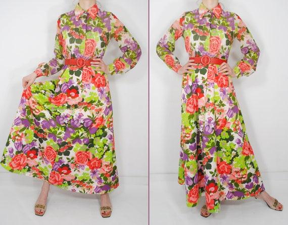 70s Botanical Long Sleeve Maxi Floral Dress, Butt… - image 2