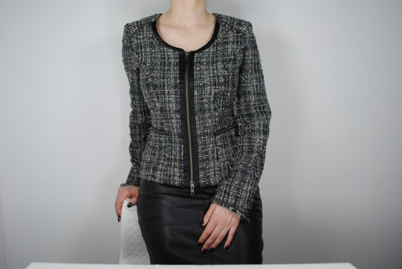 90s Chanel Inspired Gray Tweed Jacket, Vintage Co… - image 3