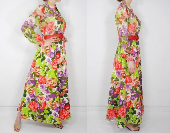 70s Botanical Long Sleeve Maxi Floral Dress, Butt… - image 3